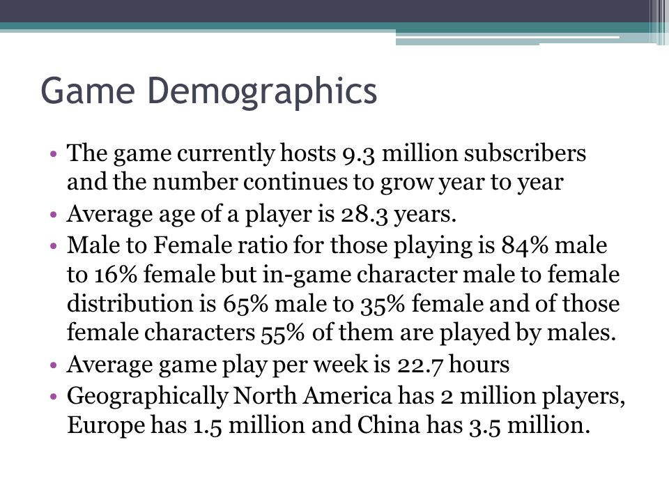 Game Demographics The game currently hosts 9.3 million subscribers and the number continues to grow year to year Average age of a player is 28.3 years