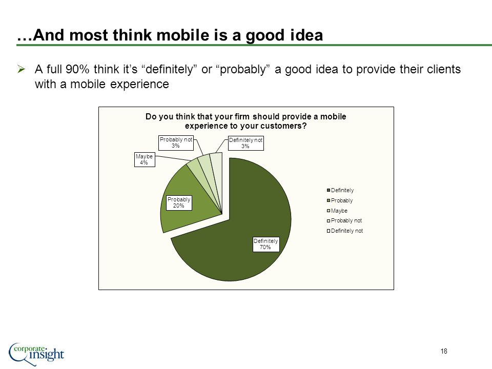 …And most think mobile is a good idea A full 90% think its definitely or probably a good idea to provide their clients with a mobile experience 18