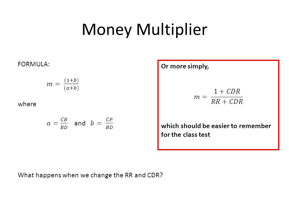 Money Multiplier What happens when we change the RR and CDR