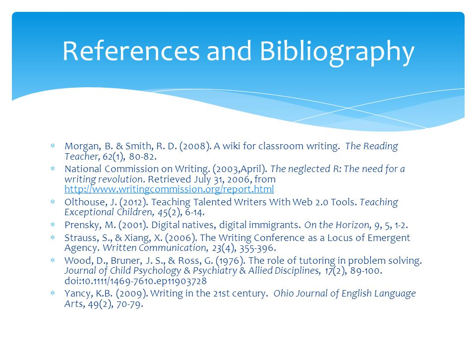 Morgan, B. & Smith, R. D. (2008). A wiki for classroom writing.