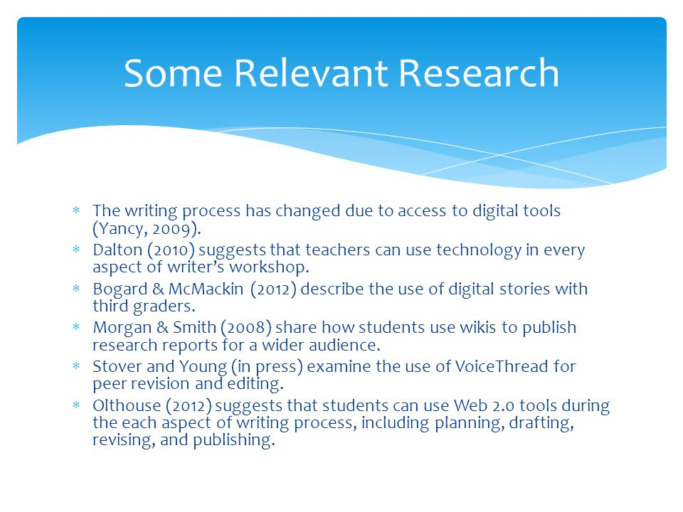 The writing process has changed due to access to digital tools (Yancy, 2009).