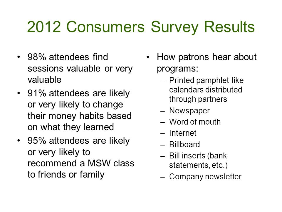2012 Consumers Survey Results 98% attendees find sessions valuable or very valuable 91% attendees are likely or very likely to change their money habits based on what they learned 95% attendees are likely or very likely to recommend a MSW class to friends or family How patrons hear about programs: –Printed pamphlet-like calendars distributed through partners –Newspaper –Word of mouth –Internet –Billboard –Bill inserts (bank statements, etc.) –Company newsletter