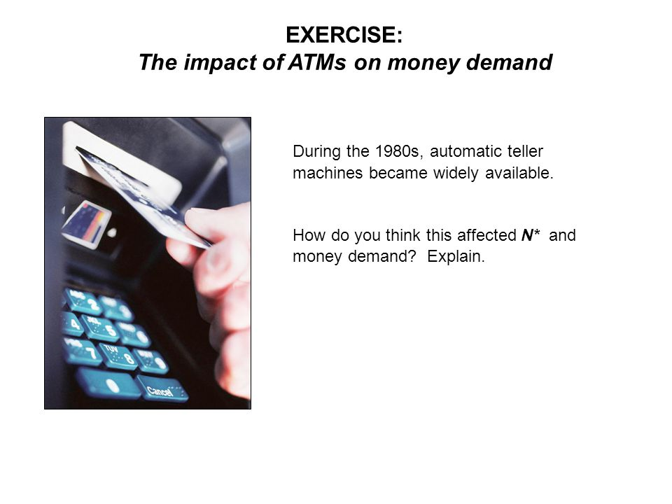 EXERCISE: The impact of ATMs on money demand During the 1980s, automatic teller machines became widely available.