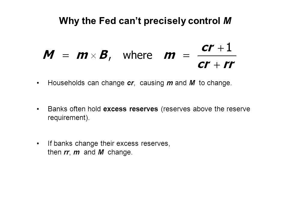 Why the Fed cant precisely control M Households can change cr, causing m and M to change.