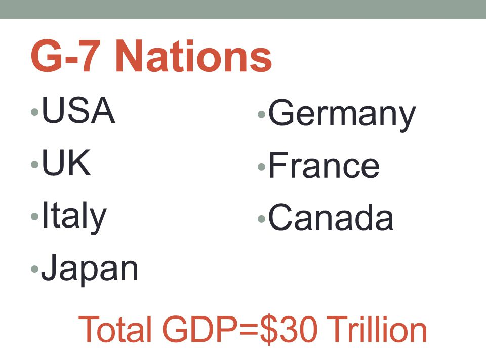 G-7 Nations USA UK Italy Japan Total GDP=$30 Trillion Germany France Canada