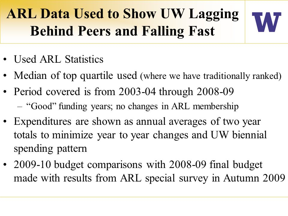 Total Library Expenditures UW Seattle & ARL Median Top Quartile : 2003-05 to 2007-09 (Annual Average)