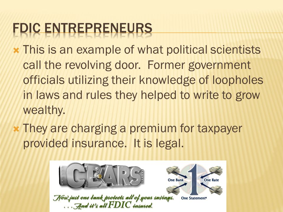 This is an example of what political scientists call the revolving door. Former government officials utilizing their knowledge of loopholes in laws an