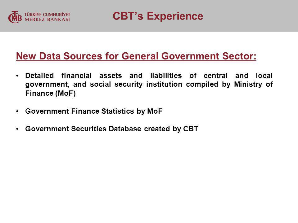 CBTs Experience New Data Sources for General Government Sector: Detailed financial assets and liabilities of central and local government, and social security institution compiled by Ministry of Finance (MoF) Government Finance Statistics by MoF Government Securities Database created by CBT