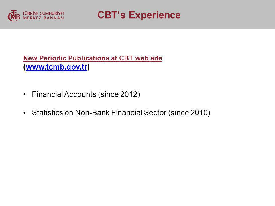 CBTs Experience New Periodic Publications at CBT web site (www.tcmb.gov.tr)www.tcmb.gov.tr Financial Accounts (since 2012) Statistics on Non-Bank Fina