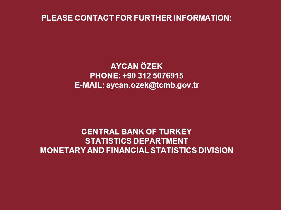 PLEASE CONTACT FOR FURTHER INFORMATION: AYCAN ÖZEK PHONE: +90 312 5076915 E-MAIL: aycan.ozek@tcmb.gov.tr CENTRAL BANK OF TURKEY STATISTICS DEPARTMENT