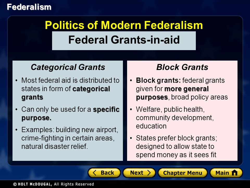 Federalism Federal aid = federal control Politics of Modern Federalism Conditions of Aid Tell state governments what they must do if they wish to receive grant money.