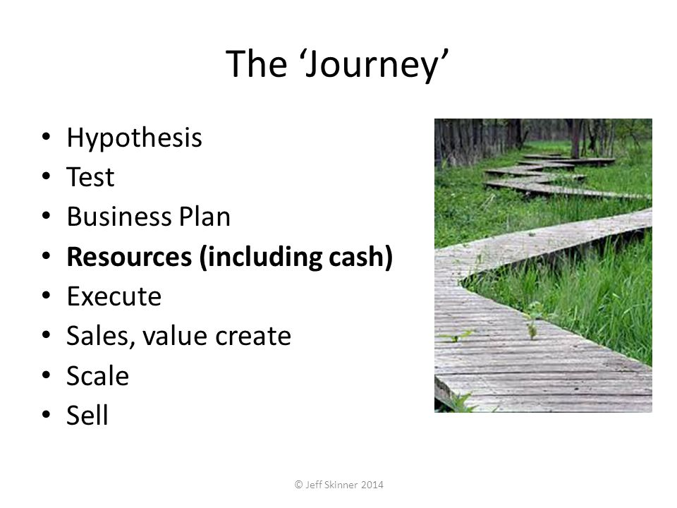 The Journey Hypothesis Test Business Plan Resources (including cash) Execute Sales, value create Scale Sell © Jeff Skinner 2014