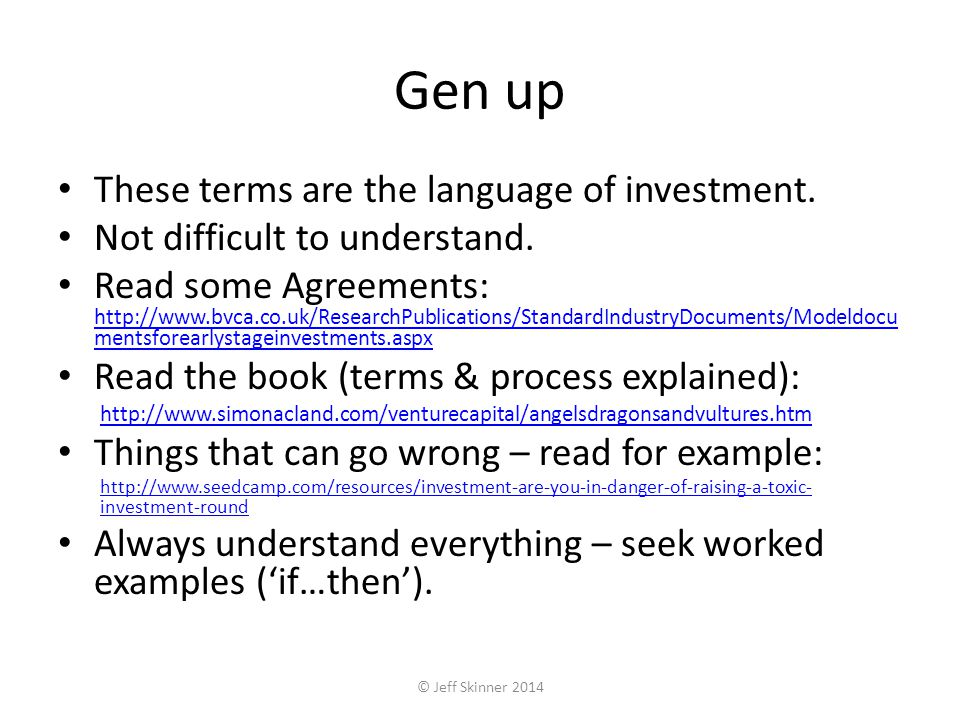 Gen up These terms are the language of investment.