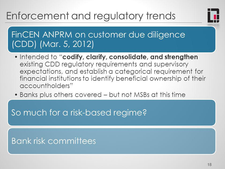 Enforcement and regulatory trends FinCEN ANPRM on customer due diligence (CDD) (Mar. 5, 2012) Intended to codify, clarify, consolidate, and strengthen