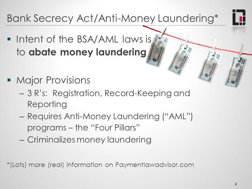Bank Secrecy Act/Anti-Money Laundering* Intent of the BSA/AML laws is to abate money laundering Major Provisions – 3 Rs: Registration, Record-Keeping
