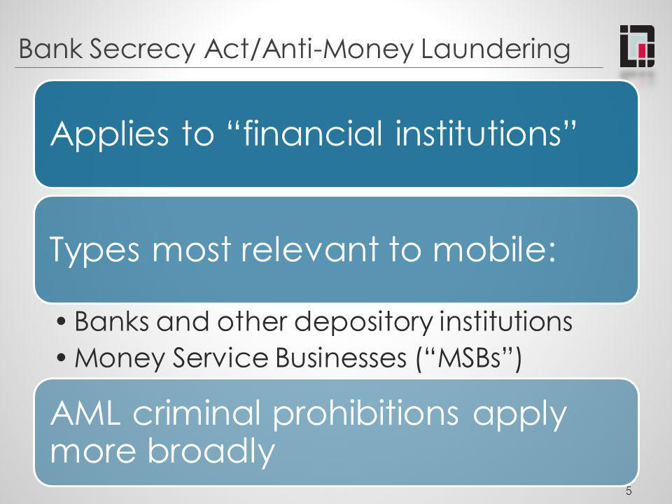 BSA Compliance Summary Depository Institutions Money Transmitters Agents of Money Transmitters * Providers of Prepaid Access Sellers of Prepaid Access RegistrationXXX RecordsXXXXX Reports SARsXXXXX CTRsXXXXX CMIRsXXXXX OthersX AML Program XXXXX 6 * Principals and agents may allocate responsibility but both are responsible for compliance.