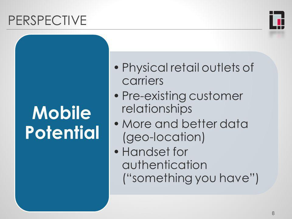 PERSPECTIVE Physical retail outlets of carriers Pre-existing customer relationships More and better data (geo-location) Handset for authentication (so