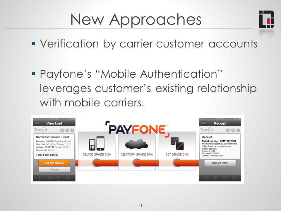 9 New Approaches Verification by carrier customer accounts Payfones Mobile Authentication leverages customers existing relationship with mobile carrie