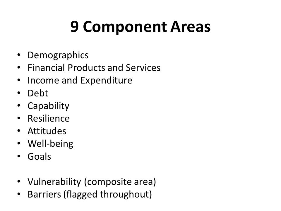 9 Component Areas Demographics Financial Products and Services Income and Expenditure Debt Capability Resilience Attitudes Well-being Goals Vulnerability (composite area) Barriers (flagged throughout)