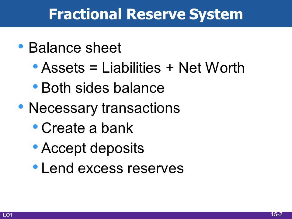 Fractional Reserve System Balance sheet Assets = Liabilities + Net Worth Both sides balance Necessary transactions Create a bank Accept deposits Lend