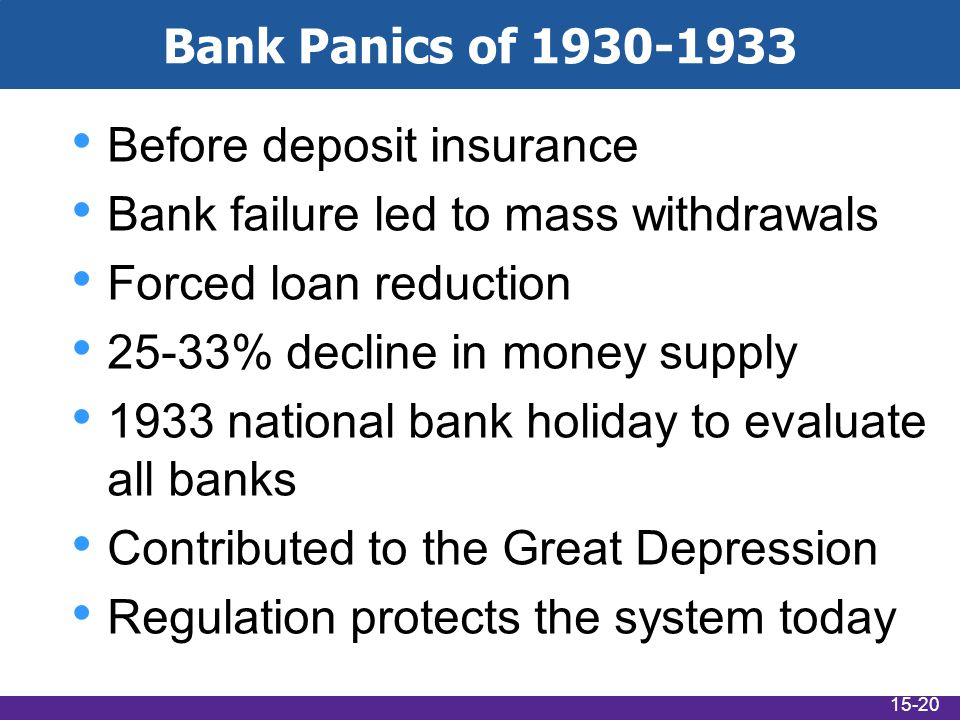 Bank Panics of 1930-1933 Before deposit insurance Bank failure led to mass withdrawals Forced loan reduction 25-33% decline in money supply 1933 natio