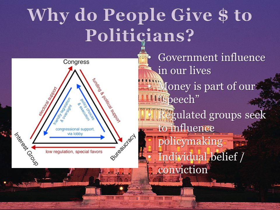 Government influence in our lives Government influence in our lives Money is part of our speech Money is part of our speech Regulated groups seek to influence policymaking Regulated groups seek to influence policymaking Individual belief / conviction Individual belief / conviction