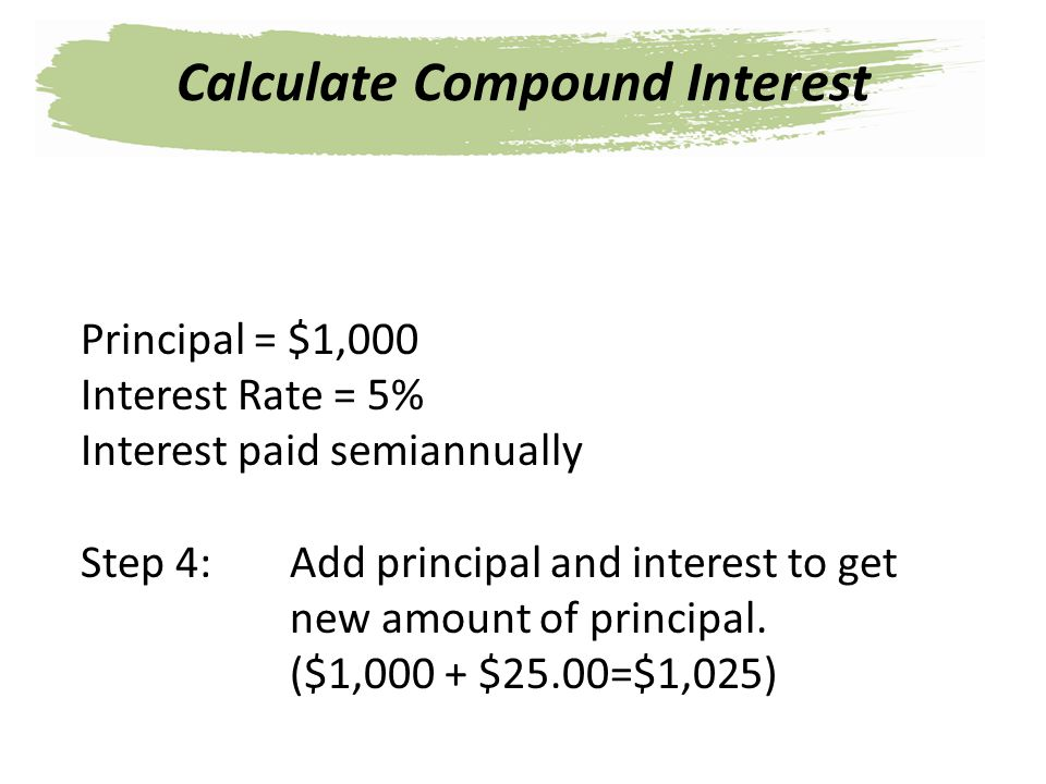 Principal = $1,000 Interest Rate = 5% Interest paid semiannually Step 4: Add principal and interest to get new amount of principal. ($1,000 + $25.00=$