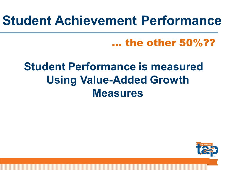 Student Achievement Performance Student Performance is measured Using Value-Added Growth Measures … the other 50%