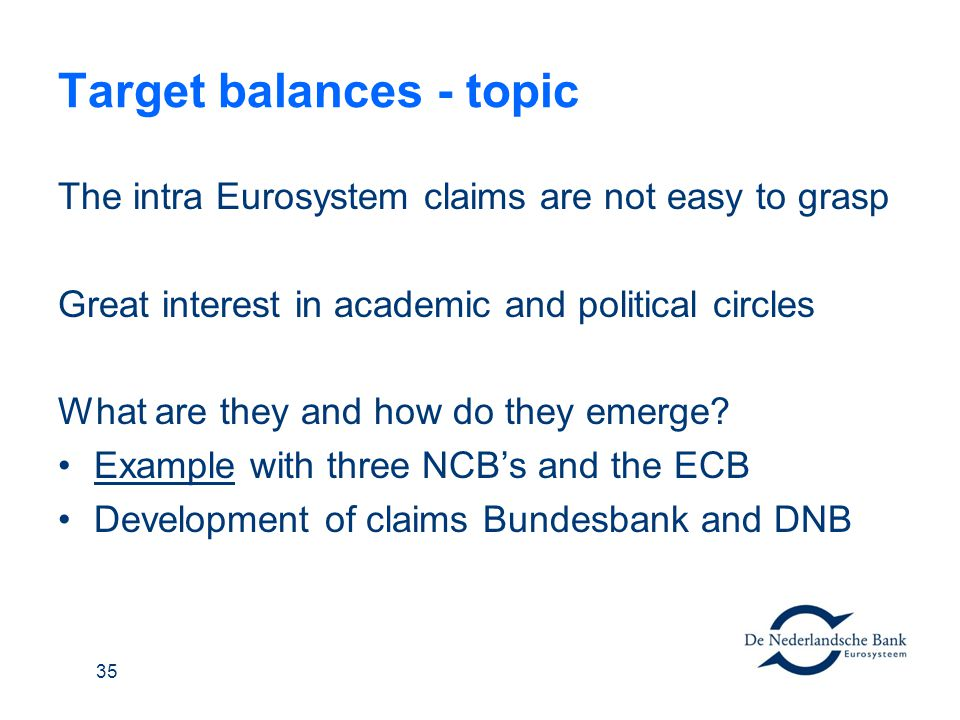 Target balances - topic The intra Eurosystem claims are not easy to grasp Great interest in academic and political circles What are they and how do th