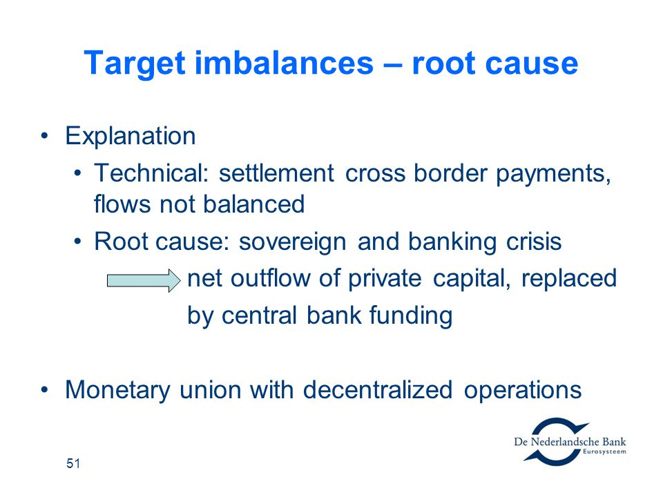 Target imbalances – root cause Explanation Technical: settlement cross border payments, flows not balanced Root cause: sovereign and banking crisis ne