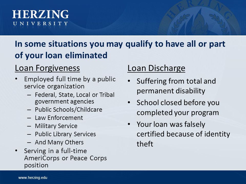 www.herzing.edu In some situations you may qualify to have all or part of your loan eliminated Loan Forgiveness Loan Discharge Employed full time by a public service organization – Federal, State, Local or Tribal government agencies – Public Schools/Childcare – Law Enforcement – Military Service – Public Library Services – And Many Others Serving in a full-time AmeriCorps or Peace Corps position Suffering from total and permanent disability School closed before you completed your program Your loan was falsely certified because of identity theft