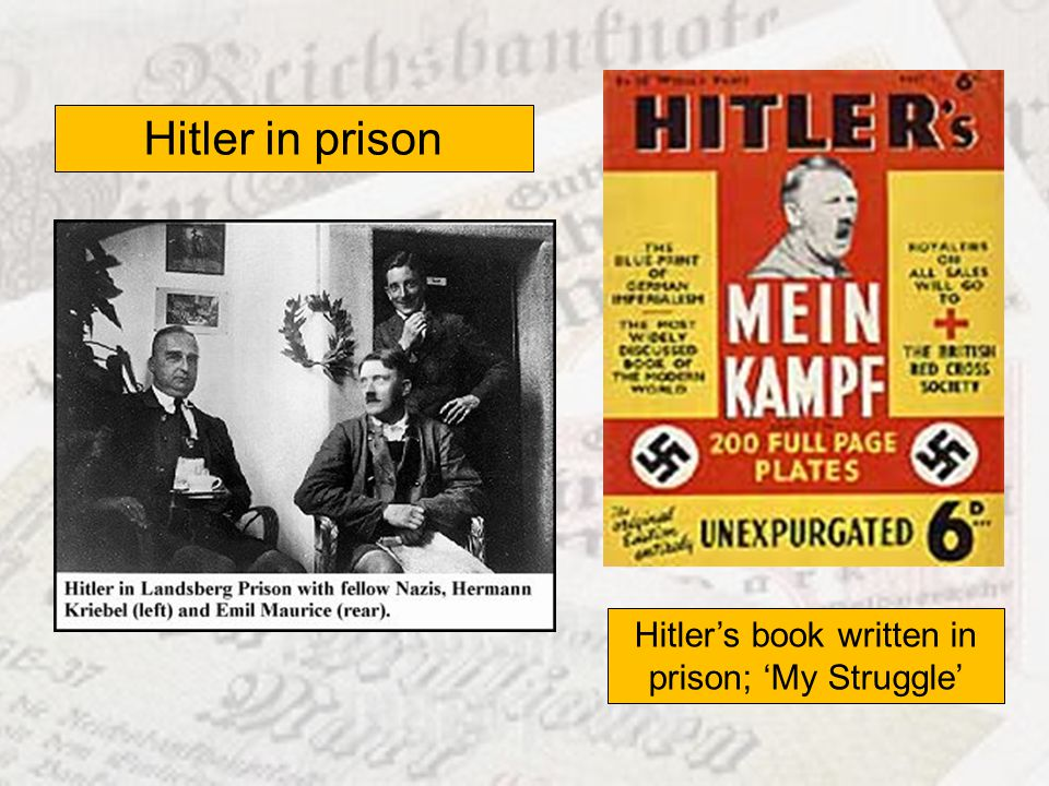 Hitler in prison Hitlers book written in prison; My Struggle