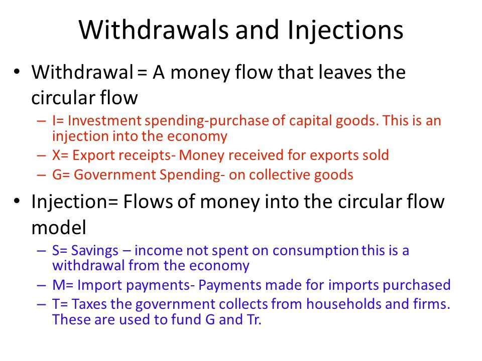 Withdrawals and Injections Withdrawal = A money flow that leaves the circular flow – I= Investment spending-purchase of capital goods. This is an inje