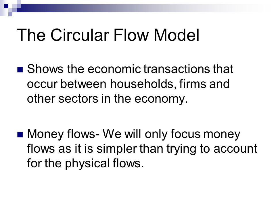 The Circular Flow of Income and Spending The simplest form of circular flow Households Producers Incomes $ rent wages interest profit $ Consumption Goods and Services Factors of production (Land, Labour, Capital