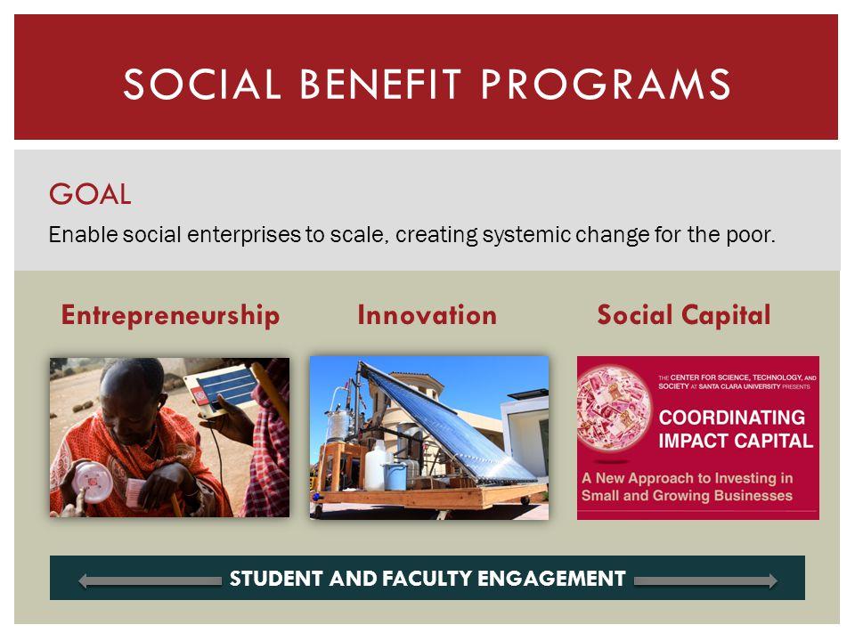SOCIAL BENEFIT PROGRAMS GOAL Enable social enterprises to scale, creating systemic change for the poor. InnovationSocial CapitalEntrepreneurship STUDE