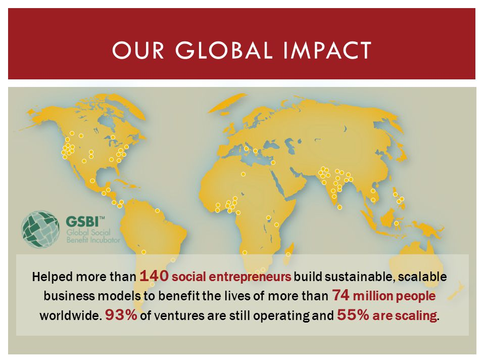 OUR GLOBAL IMPACT Helped more than 140 social entrepreneurs build sustainable, scalable business models to benefit the lives of more than 74 million people worldwide.