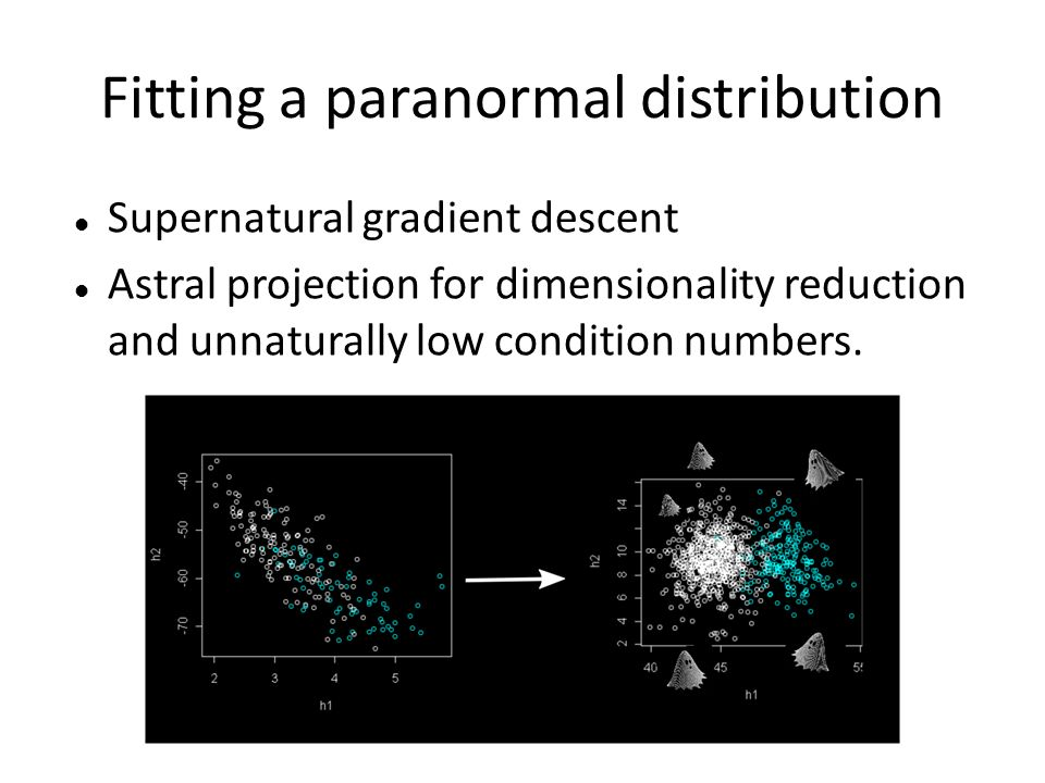 Fitting a paranormal distribution Supernatural gradient descent Astral projection for dimensionality reduction and unnaturally low condition numbers.