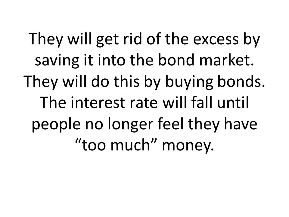 They will get rid of the excess by saving it into the bond market. They will do this by buying bonds. The interest rate will fall until people no long