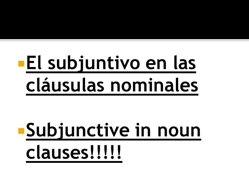 El subjuntivo en las cláusulas nominales Subjunctive in noun clauses!!!!!