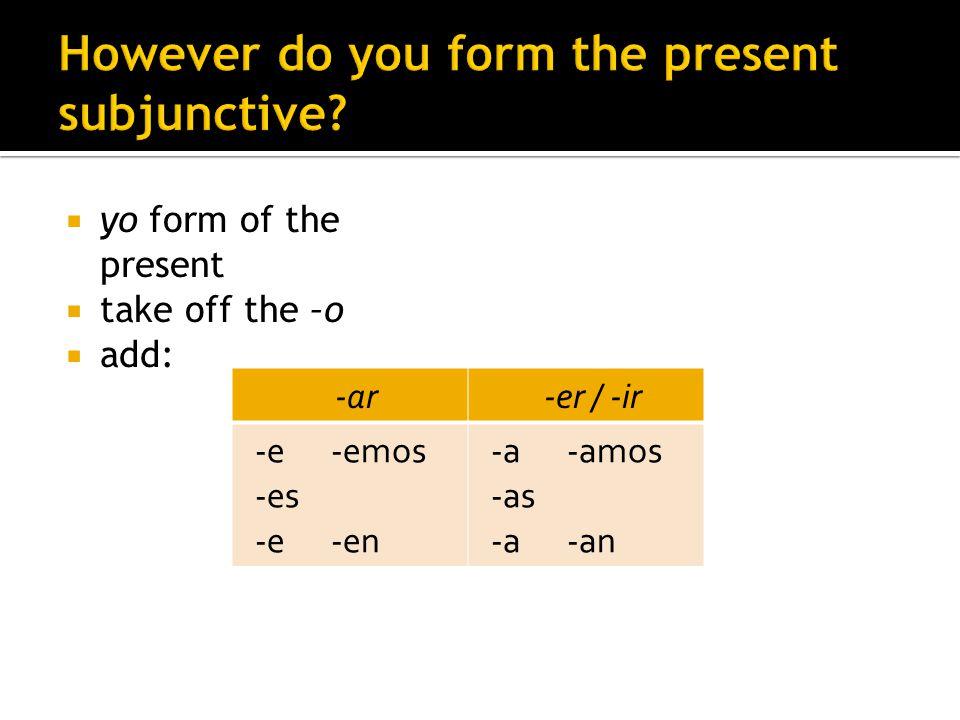 yo form of the present take off the –o add: -ar-er / -ir -e -emos -es -e -en -a -amos -as -a -an