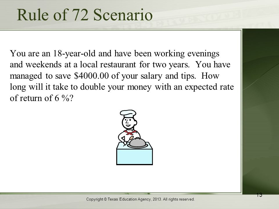Rule of 72 Scenario You are an 18-year-old and have been working evenings and weekends at a local restaurant for two years.