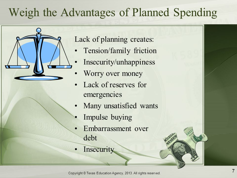 Weigh the Advantages of Planned Spending Good financial planning creates: Peace of mind Family harmony Financial independence Satisfied desires – lasting enjoyment Saving for emergencies Attained long-range goals Planned spending patterns Living within income Copyright © Texas Education Agency, 2013.