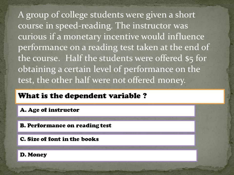 A group of college students were given a short course in speed-reading.