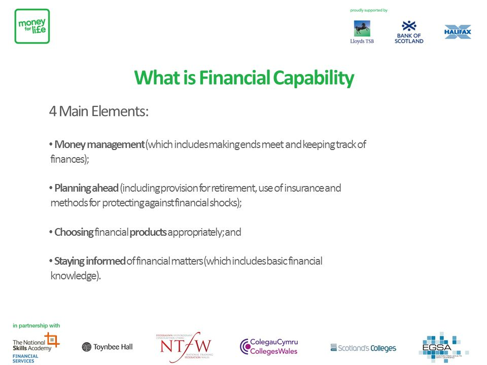 What is Financial Capability 4 Main Elements: Money management (which includes making ends meet and keeping track of finances); Planning ahead (includ