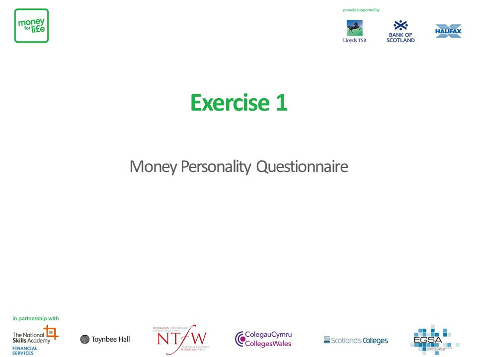 Exercise 1 Money Personality Questionnaire