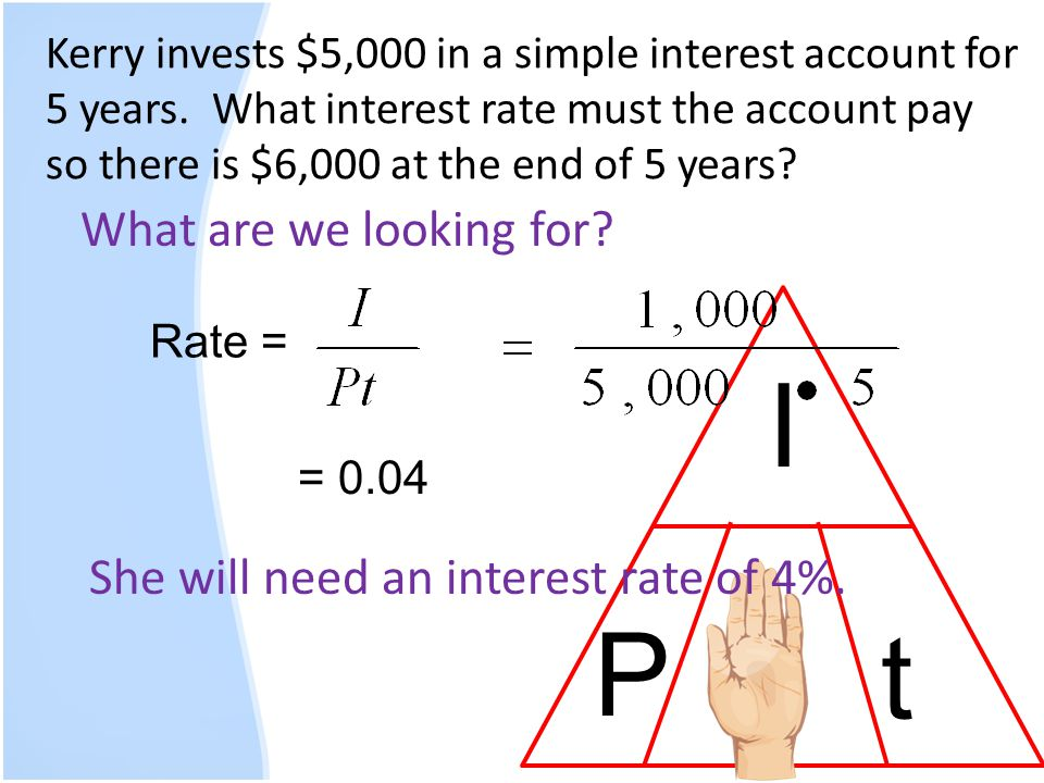 Kerry invests $5,000 in a simple interest account for 5 years. What interest rate must the account pay so there is $6,000 at the end of 5 years? What