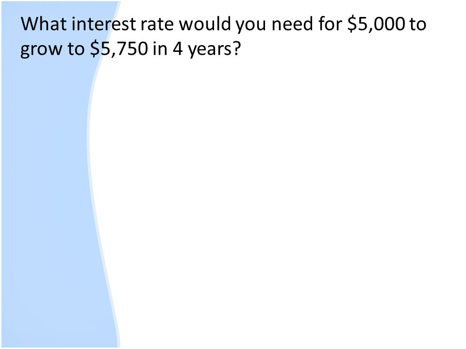 What interest rate would you need for $5,000 to grow to $5,750 in 4 years?