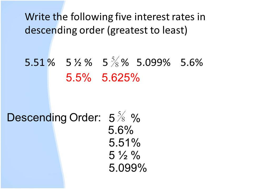 Write the following five interest rates in descending order (greatest to least) 5.51 %5 ½ % 5 % 5.099% 5.6% 5.5%5.625% Descending Order: 5.099% 5 % 5.