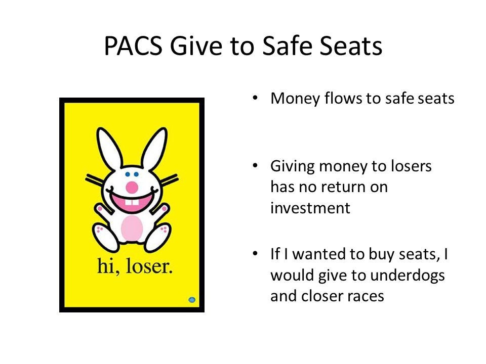 PACS Give to Safe Seats Money flows to safe seats Giving money to losers has no return on investment If I wanted to buy seats, I would give to underdogs and closer races