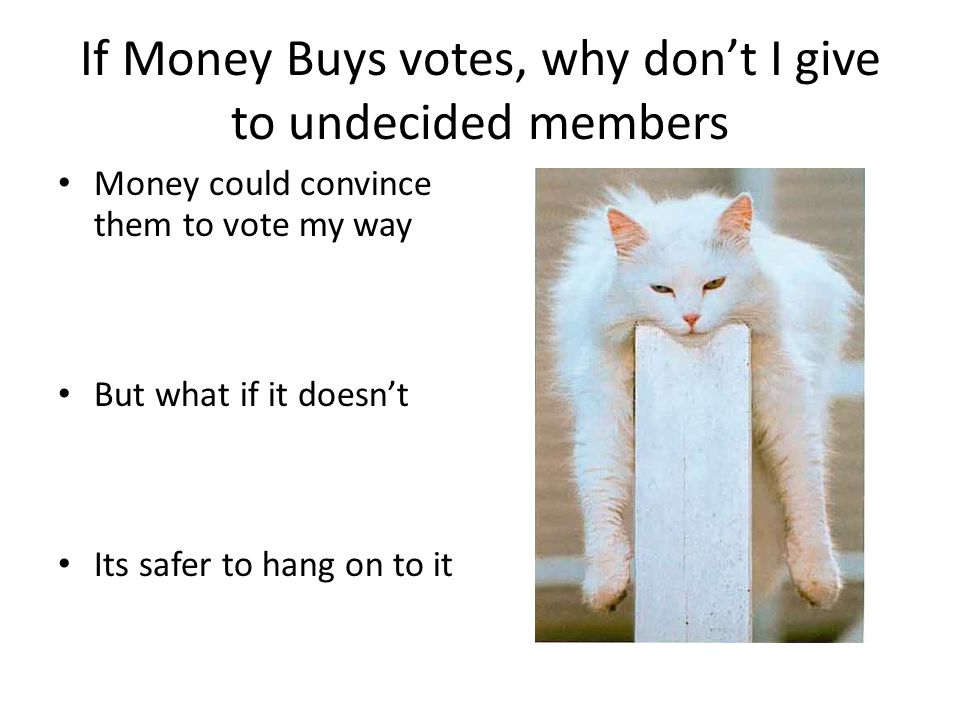 If Money Buys votes, why dont I give to undecided members Money could convince them to vote my way But what if it doesnt Its safer to hang on to it